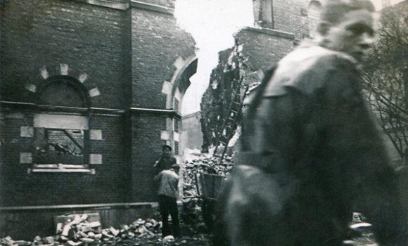 Die zerstörte Synagoge an der Peterstraße