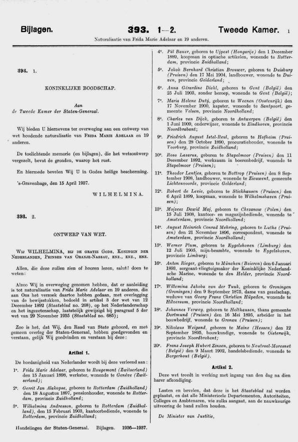 Einbürgerung von Rosa in die Niederlande, 1937
