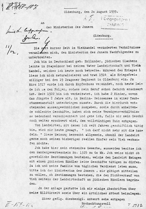 Schreiben von Samuel Lazarus an das Innenministerium, 1935