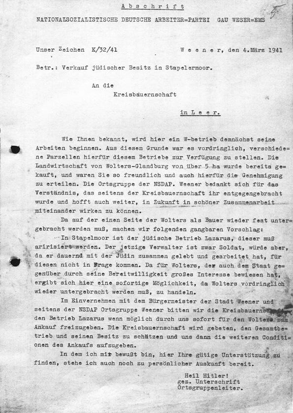 """Schreiben der NSDAP bezüglich der """"Arisierung"""" des Hofs in Stapelmoor, 1941"""