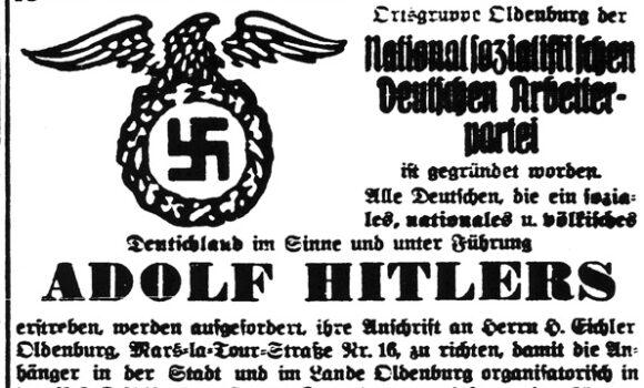 Anzeige zur Gründung der NSDAP Ortsgruppe Oldenburg vom 08.04.1925