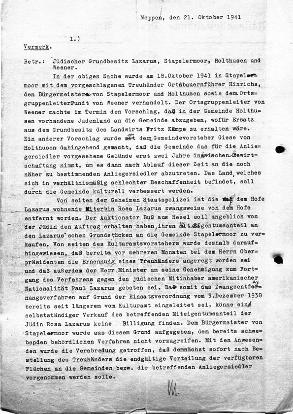 """Hinweis auf die """"Entfernung"""" Rosas vom Hof durch die Gestapo"""